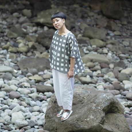 ドルマンシャツ|太格子(墨染)|型染の服 2021 夏