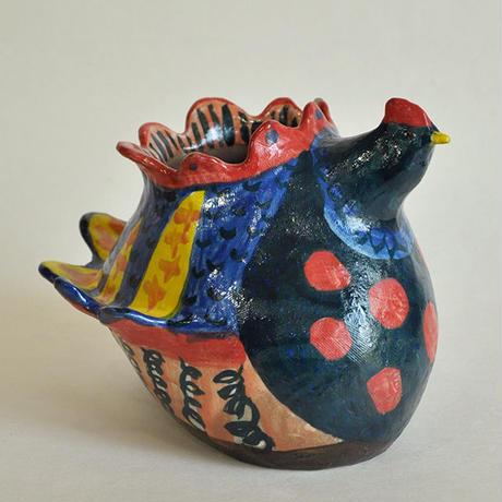 青い鶏 丸形|花器