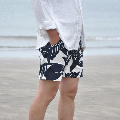 ショートパンツ |カラスの群れ|型染の服 2021 夏