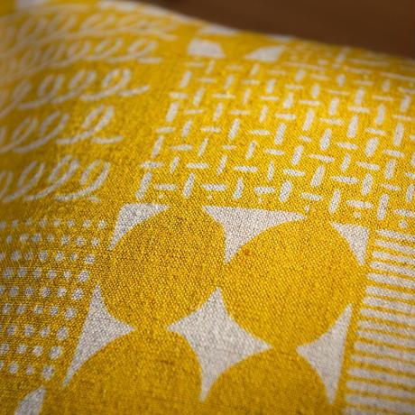 クッションカバー(クッション入り) 花布 黄色(単色)