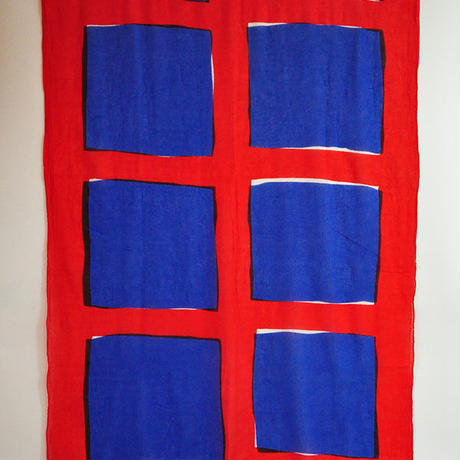 型染ストール|四角と四角 真赤 x コバルトブルー