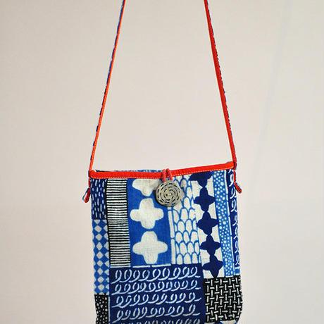 型染布ショルダーバッグ|花布