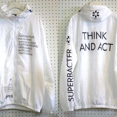 サイクリングパーカー【fingercrox】白/ウインドブレーカーサイクリングジャケットフリーサイズナイロンパーカーシャカバックプリント