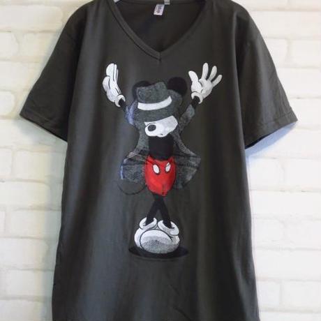 マイケルジャクソン x ミッキーマウス パロディーVネックTシャツ/グレーSMLXL2XL/灰色メンズレディースパロディTシャツおもしろTシャツXXLL2Lビッグサイズ大きいサイズファットサイズ有