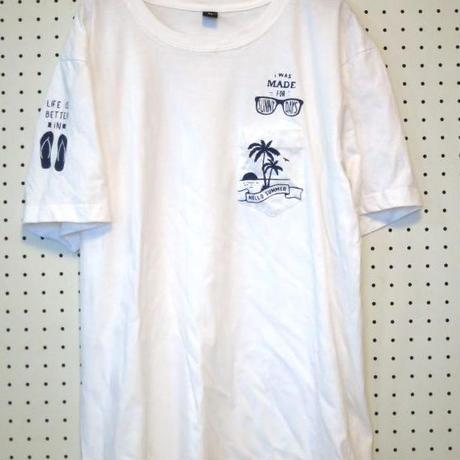 サーフTシャツ ヤシの木 ビーチサンダル サングラス 胸ポケット 白サーフィン サーファー ダンス トレッキング ボルダリング バックパッカー ネイティブカルチャー