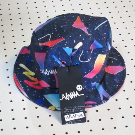 宇宙柄ハット【ARAINA】紺色ネイビー総柄ハット帽カラフル帽子アウトドアウェアサーフィン新品ネット通販売