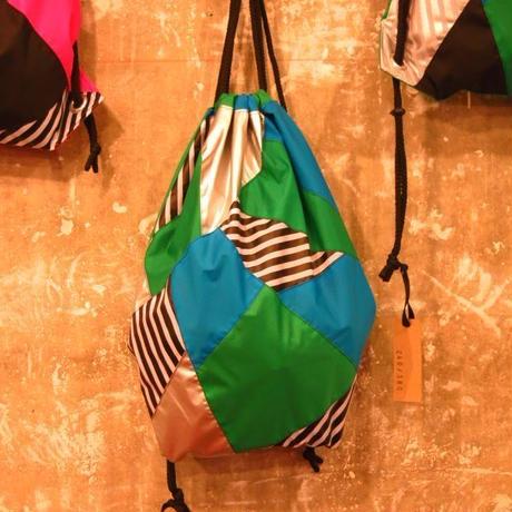 カラフル パッチワーク ナップザック シルバー x 緑 x 青 x ボーダー柄 リュック バックパック ダンス衣装 ダンサー  メンズ レディース キッズダンス アウトドア