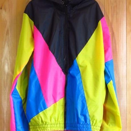 カラフル パッチワーク ナイロンパーカー S M L 黒×黄×青×ピンク ダンス衣装 ダンサー アウトドアウェア サイクリングジャケット マウパー マウンテンパーカー