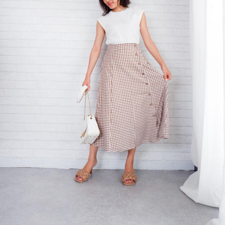 ギンガムチェックボタン巻きスカート//2colors