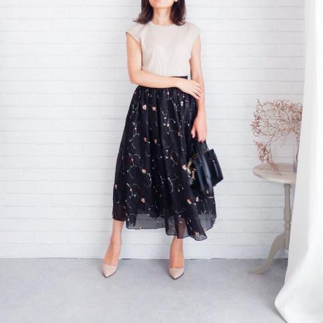 【original】flower刺繍チュールスカート