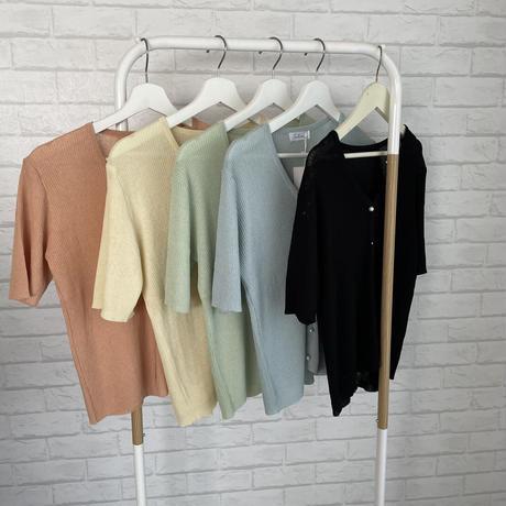 パールボタン5部袖カーディガン//5 colors