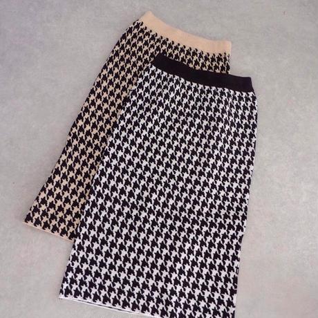 千鳥柄ニットタイトスカート