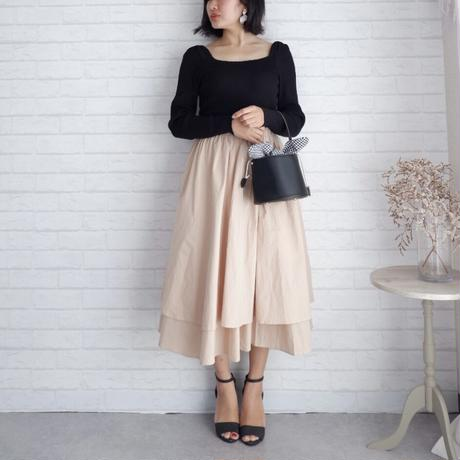 ダブルフレアミモレ丈スカート