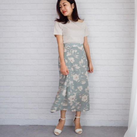 フラワープリントAラインスカート