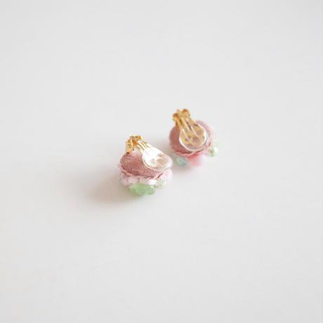 「桃と若葉」イヤリング