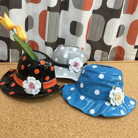 水玉帽子のフラワーベース 花器