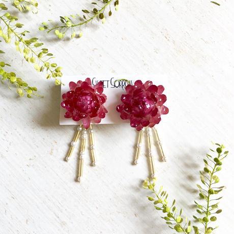 麦わら菊の2wayピアス/pink