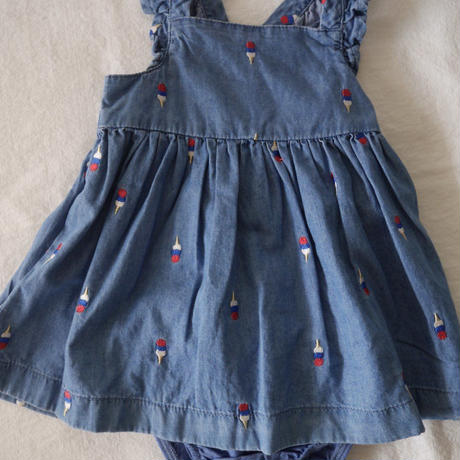 【oshkosh】Denim  Frill  Icecream  Dress