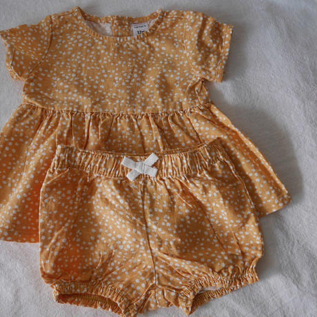【carter's】Linen  Cotton  Dot  Romper
