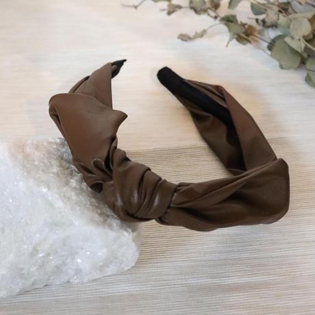 リボン 合皮 シンプル カチューシャ