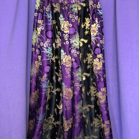 花柄 ラインチャイナワイドパンツ/purple