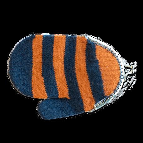 【手袋】がま口ポーチ(単品) / ボーダー(オレンジ)