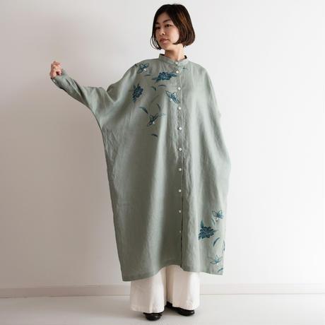 スタンドカラーシャツドレス 更紗・牡丹