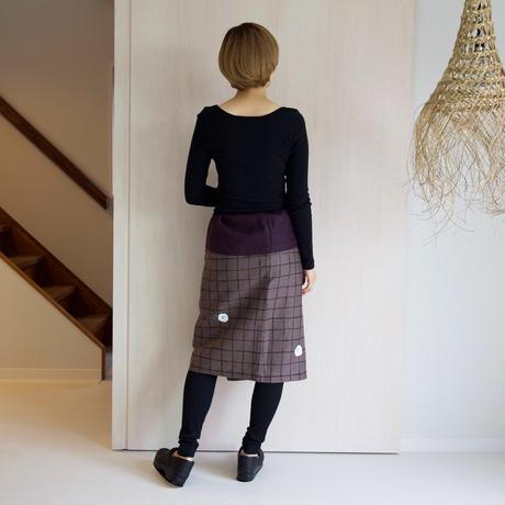 リネン・サロンスカート 格子に椿