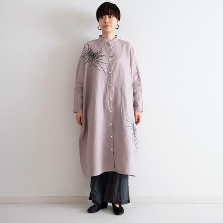 スタンドカラーシャツドレス 墨色乱菊