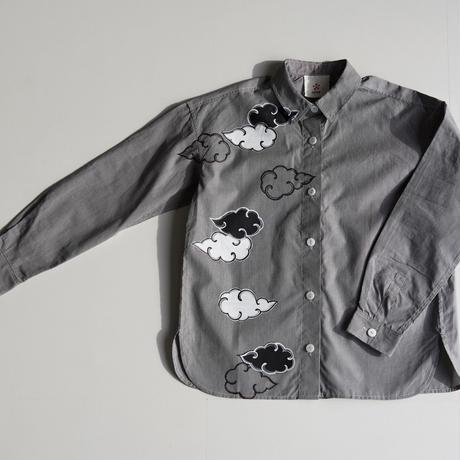 ギンガムチェックシャツ黒 <雲>