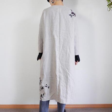 リネン・羽織り ベージュ <墨梅>