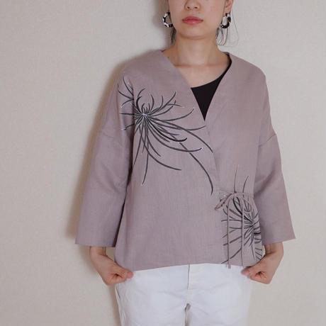 袷のショートジャケットくすみピンク 墨色乱菊