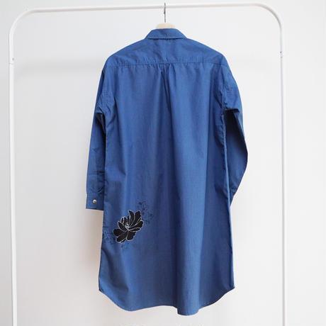 ロングシャツ ギンガムチェックブルー <黒牡丹>