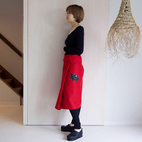 リネン・サロンスカート 牡丹