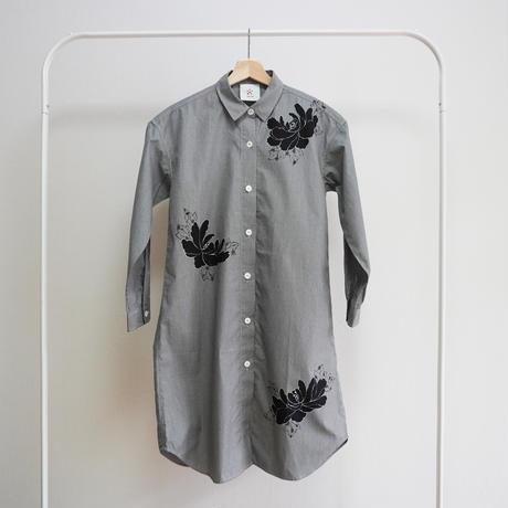 ロングシャツ ギンガムチェック黒 <黒牡丹>