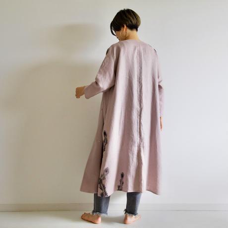 リネン・羽織り くすみピンク <孔雀の羽>