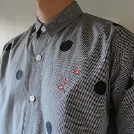メンズ・ギンガムチェックシャツ <水玉と梅>