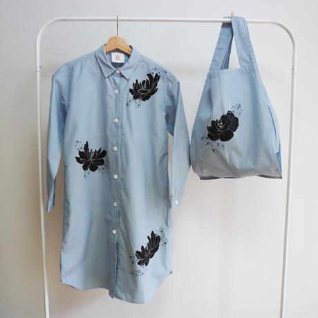 ロングシャツ ギンガムチェック水色 <黒牡丹>