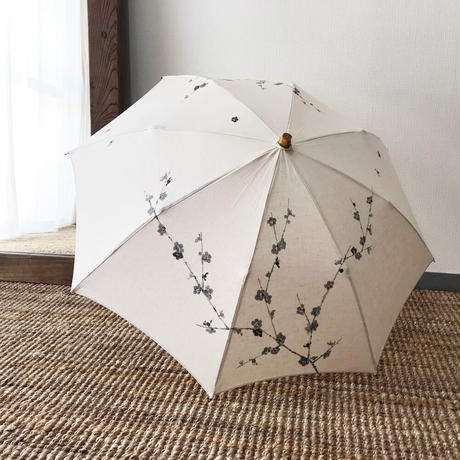 日傘・生成り<墨梅>