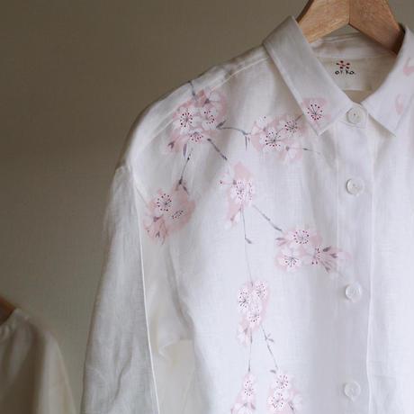 リネン・シャツワンピース 白<桜>