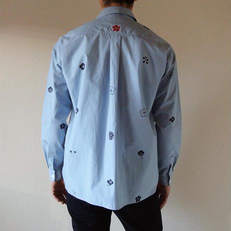 メンズ・ギンガムチェックシャツ水色 <梅家紋>