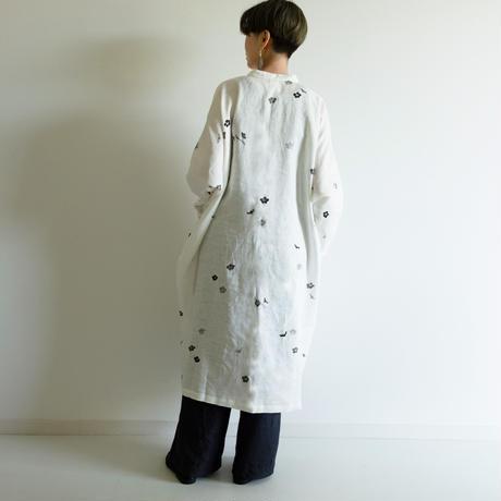 スタンドカラーシャツドレス 墨梅