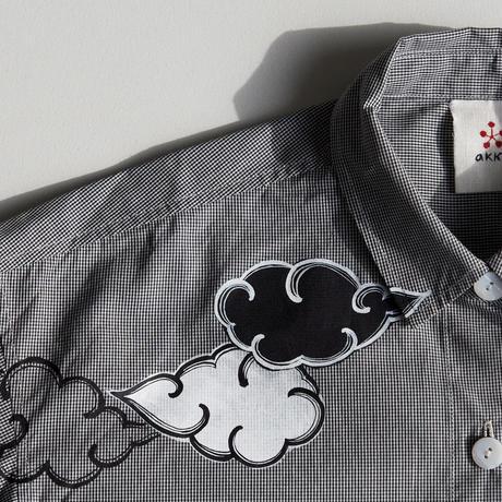 ロングシャツ ギンガムチェック黒 <雲>