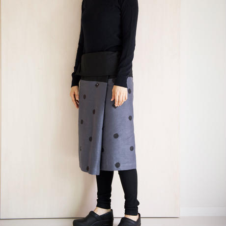 リネン・サロンスカート ドットに椿
