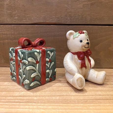FITZ AND FLOYD Teddy's Christmas S&P/フィッツアンドフロイド テディクリスマス ソルト&ペッパー/201119-10