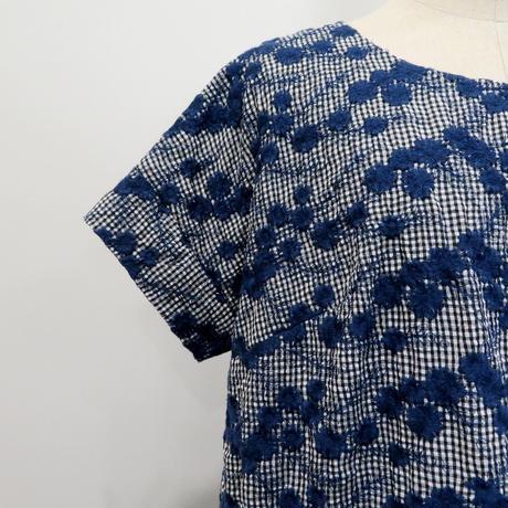 ギンガム×フラワー刺繍*チュニック (11FAS013)
