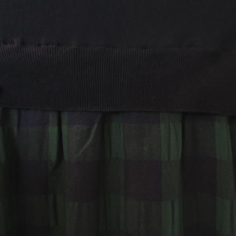ウール/ポリエステルギンガム*ワンピース(03FA008)