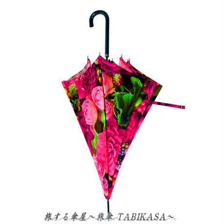 おしゃれ傘  傘専門店 通販 東京 レディース グラスファイバー 雨傘 ワンタッチ ジャンプ サビない 旅傘【長傘 58㎝ Rose】