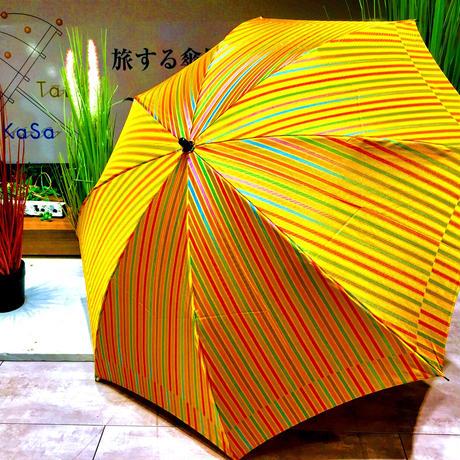 【折 2段 日本製】傘専門店 通販 東京 折りたたみ傘 日傘 雨傘 晴雨兼用  旅傘【ストライプ カラシ】