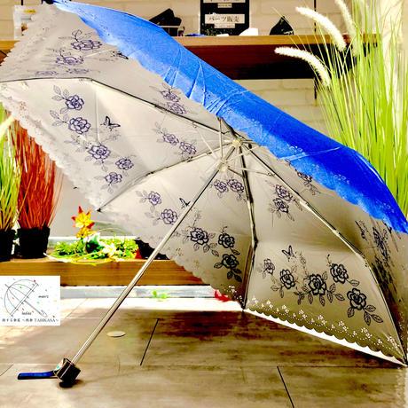 【折 日傘 55cm 暴風シリーズ】傘専門店 通販 東京 折りたたみ傘 UV 日傘 雨傘 晴雨兼用 遮光 遮熱 旅傘【清涼効果 Flower Navy】